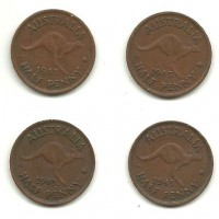 1943 Half Pennies a Four Penny Lot