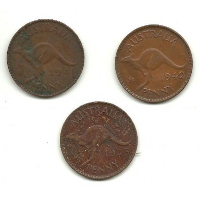 Rare Pennies 1938 1941 1942 all Melbourne Mint Issue